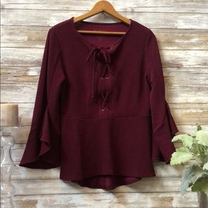 Chico's Lace up flare sleeve Monrovia top eggplant